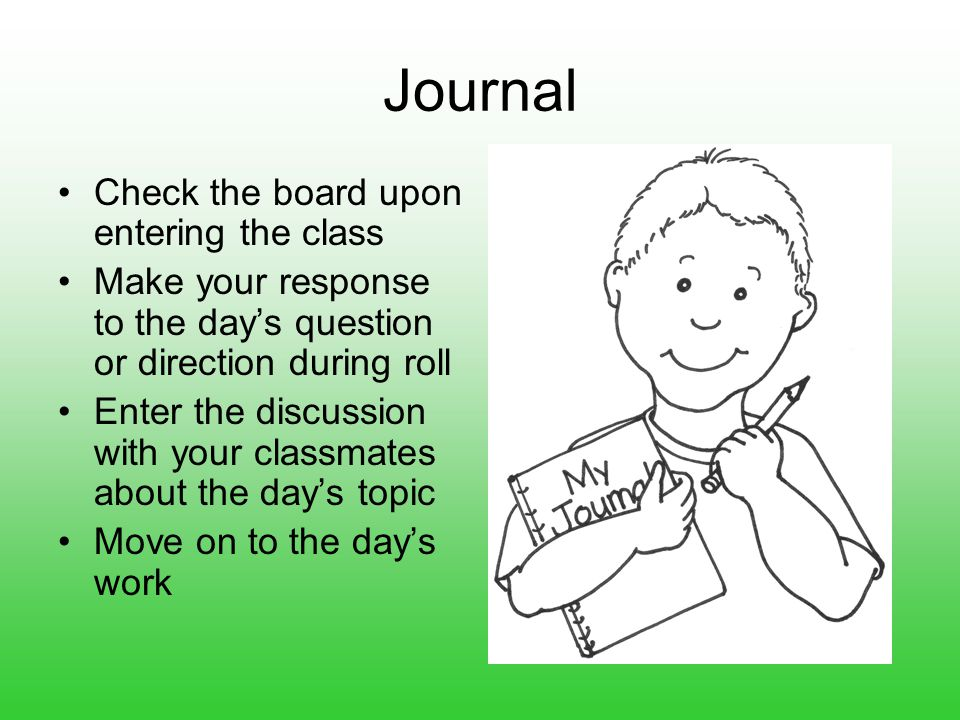 Journal Check the board upon entering the class Make your response to the day's question or direction during roll Enter the discussion with your classmates about the day's topic Move on to the day's work