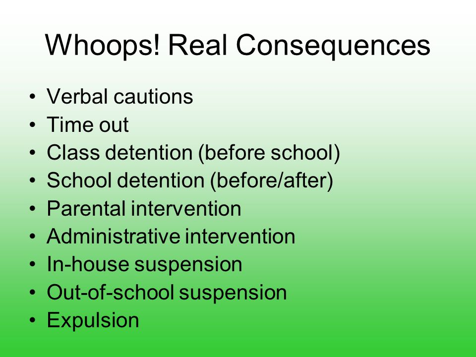 Whoops! Real Consequences Verbal cautions Time out Class detention (before school) School detention (before/after) Parental intervention Administrativ