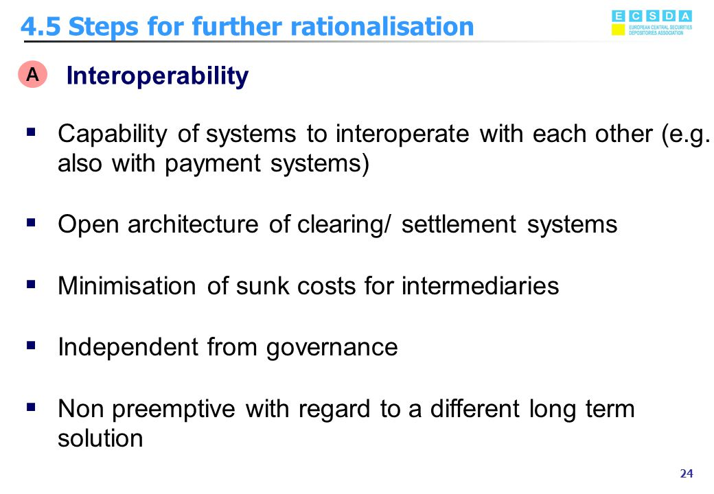Marzo 2002 24 4.5 Steps for further rationalisation A Interoperability  Capability of systems to interoperate with each other (e.g. also with payment