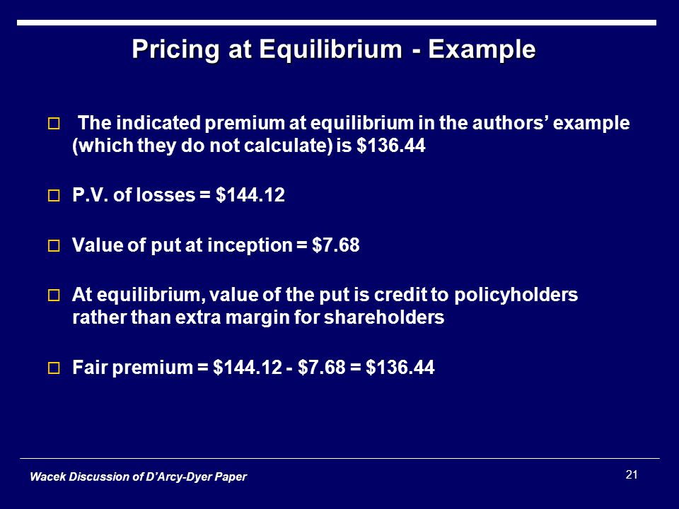 Wacek Discussion of D'Arcy-Dyer Paper 21 Pricing at Equilibrium - Example  The indicated premium at equilibrium in the authors' example (which they do not calculate) is $136.44  P.V.