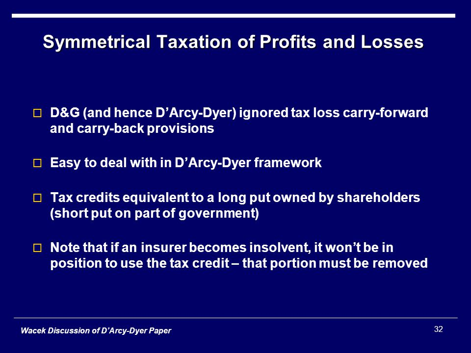 Wacek Discussion of D'Arcy-Dyer Paper 32 Symmetrical Taxation of Profits and Losses  D&G (and hence D'Arcy-Dyer) ignored tax loss carry-forward and carry-back provisions  Easy to deal with in D'Arcy-Dyer framework  Tax credits equivalent to a long put owned by shareholders (short put on part of government)  Note that if an insurer becomes insolvent, it won't be in position to use the tax credit – that portion must be removed