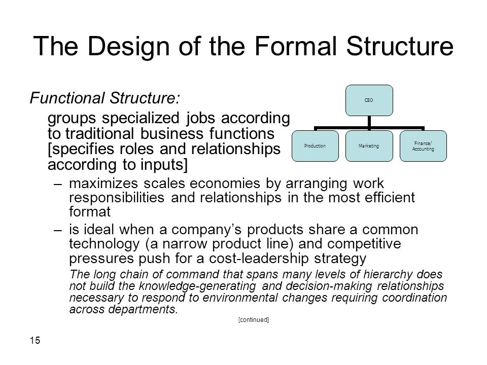 15 The Design of the Formal Structure Functional Structure: groups specialized jobs according to traditional business functions [specifies roles and relationships according to inputs] –maximizes scales economies by arranging work responsibilities and relationships in the most efficient format –is ideal when a company's products share a common technology (a narrow product line) and competitive pressures push for a cost-leadership strategy The long chain of command that spans many levels of hierarchy does not build the knowledge-generating and decision-making relationships necessary to respond to environmental changes requiring coordination across departments.