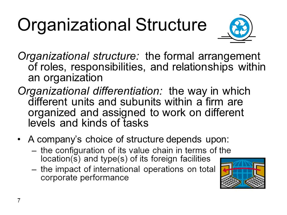 7 Organizational Structure Organizational structure: the formal arrangement of roles, responsibilities, and relationships within an organization Organizational differentiation: the way in which different units and subunits within a firm are organized and assigned to work on different levels and kinds of tasks A company's choice of structure depends upon: –the configuration of its value chain in terms of the location(s) and type(s) of its foreign facilities –the impact of international operations on total corporate performance