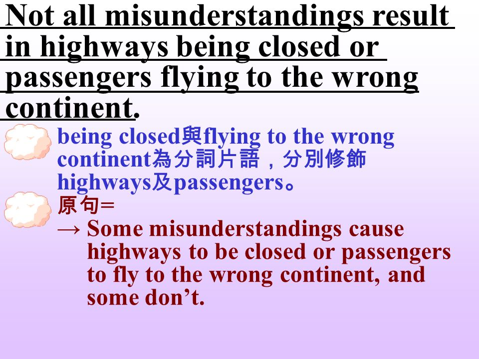 Not all misunderstandings result in highways being closed or passengers flying to the wrong continent. 因 + result in + 果 = cause; lead to 造成 … (結果) Hi