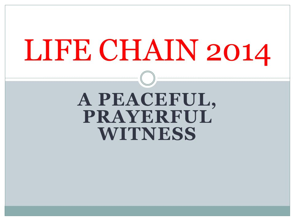 A PEACEFUL, PRAYERFUL WITNESS LIFE CHAIN 2014