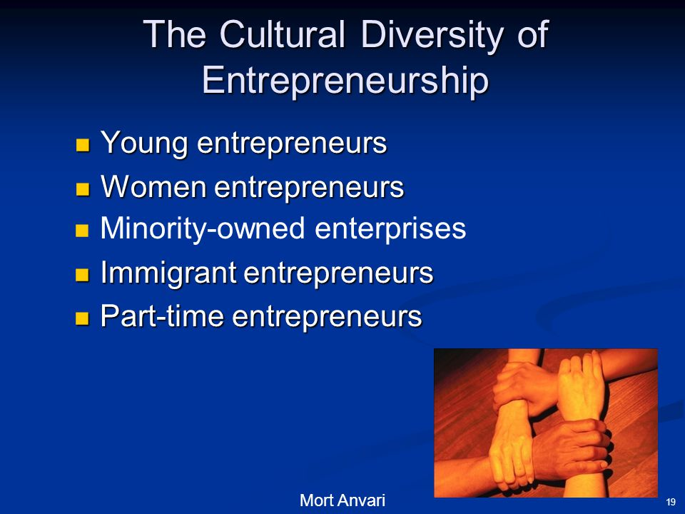 19 The Cultural Diversity of Entrepreneurship Young entrepreneurs Young entrepreneurs Women entrepreneurs Women entrepreneurs Minority-owned enterprises Immigrant entrepreneurs Immigrant entrepreneurs Part-time entrepreneurs Part-time entrepreneurs