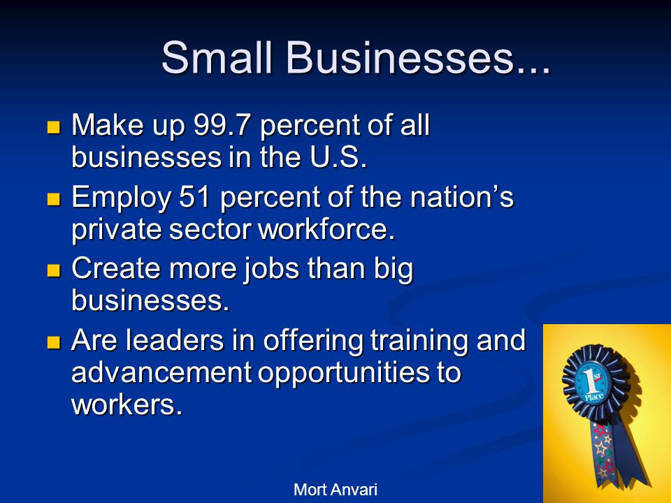 22 Small Businesses... Make up 99.7 percent of all businesses in the U.S.