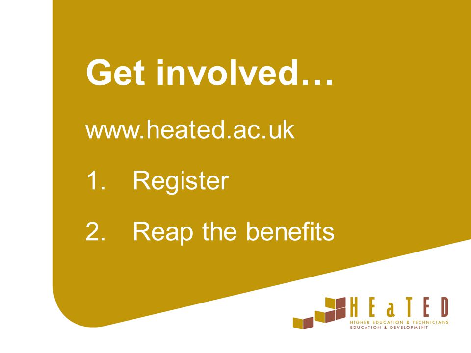 Contact us Dr Rachel Crossley HEaTED Programme Manager E: r.crossley@slcs.ac.uk HEaTED Central Team E: admin@heated.ac.uk T: 01904 328173 @HEaTEDtechs