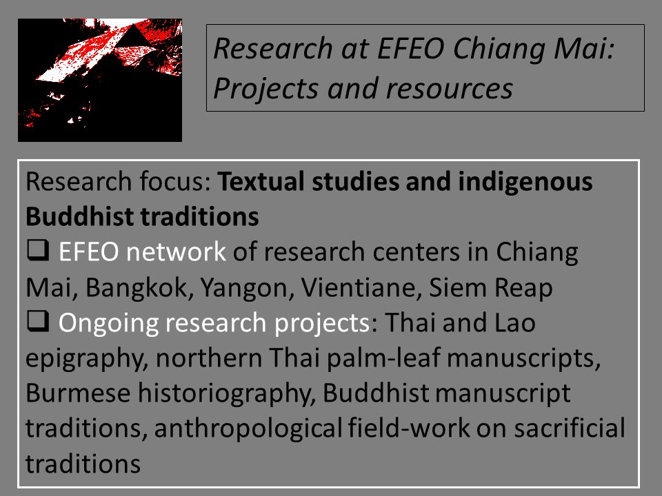 Research focus: Textual studies and indigenous Buddhist traditions  EFEO network of research centers in Chiang Mai, Bangkok, Yangon, Vientiane, Siem Reap  Ongoing research projects: Thai and Lao epigraphy, northern Thai palm-leaf manuscripts, Burmese historiography, Buddhist manuscript traditions, anthropological field-work on sacrificial traditions Research at EFEO Chiang Mai: Projects and resources