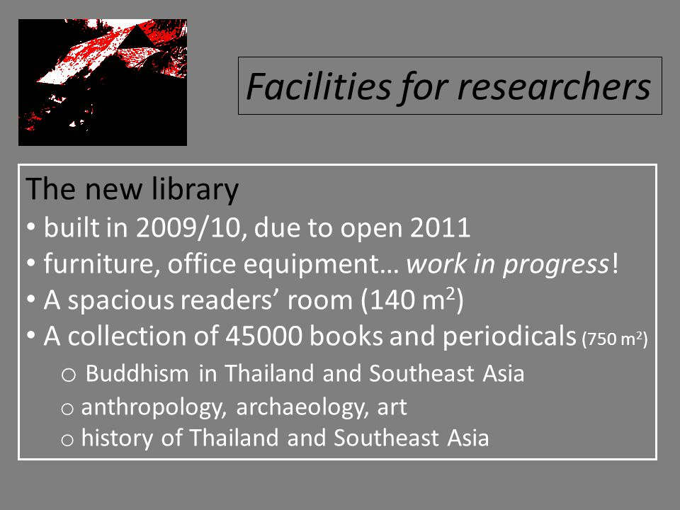 The new library built in 2009/10, due to open 2011 furniture, office equipment… work in progress! A spacious readers' room (140 m 2 ) A collection of