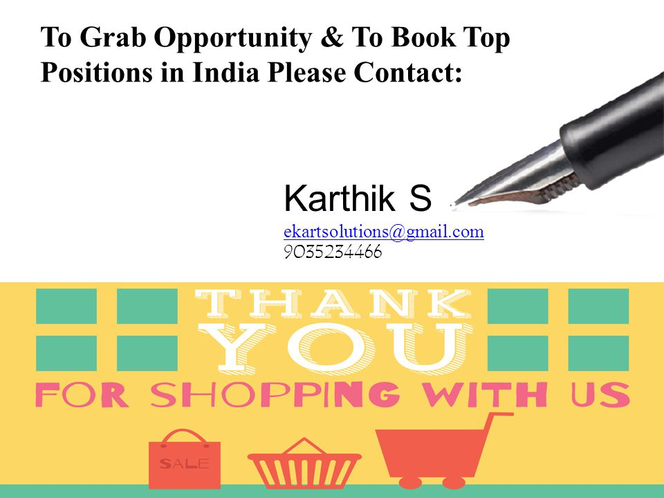 To Grab Opportunity & To Book Top Positions in India Please Contact: Karthik S ekartsolutions@gmail.com 9035234466