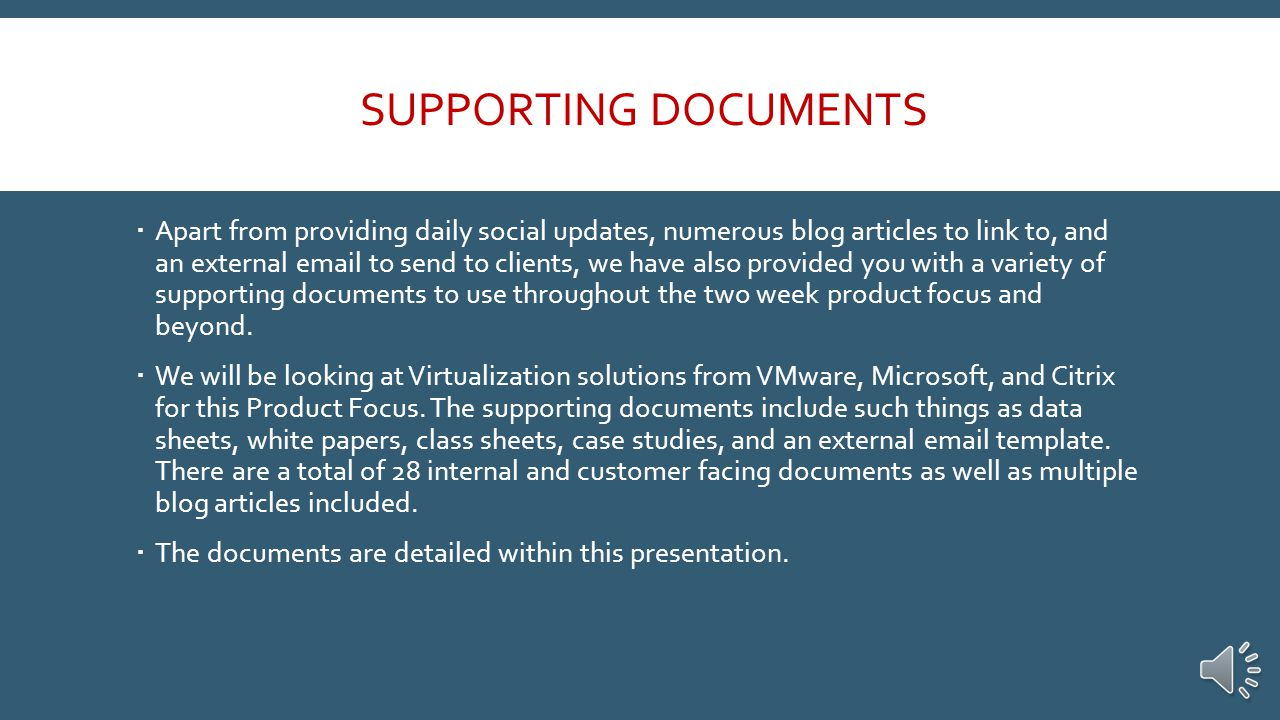 Social Media  Look for a new post each morning for the next two weeks to push our Virtualization focus.