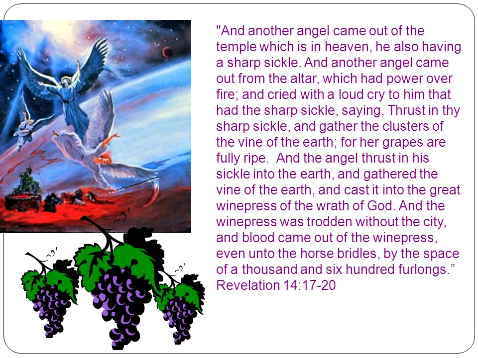 And another angel came out of the temple which is in heaven, he also having a sharp sickle.