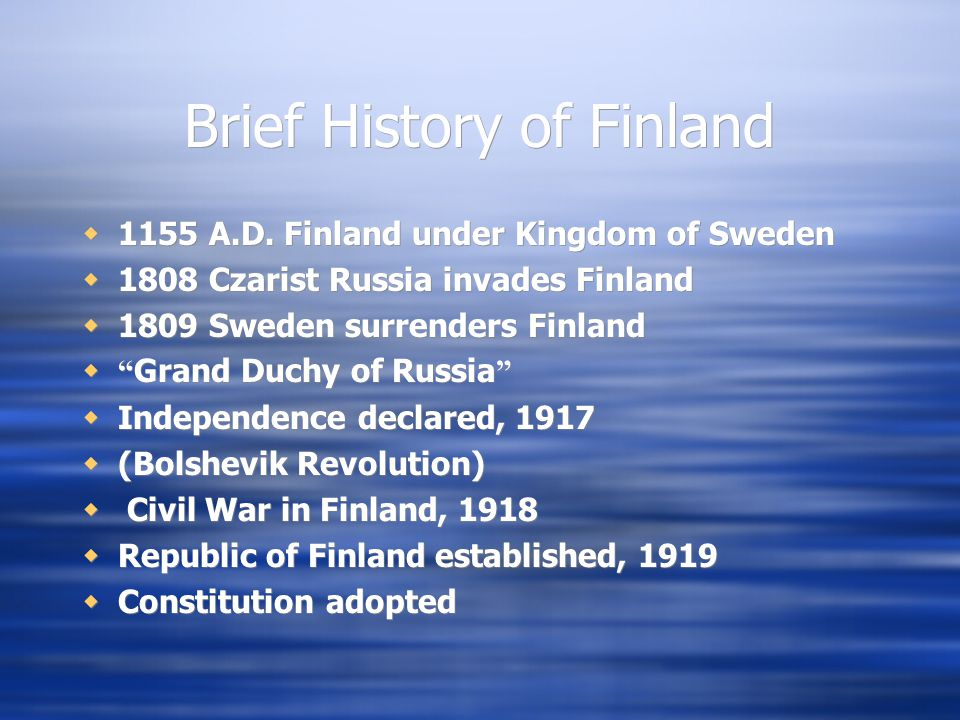 Brief History of Finland  1155 A.D.