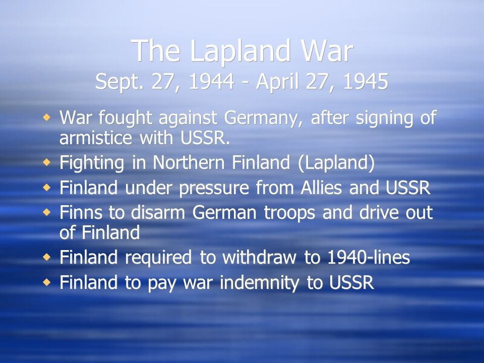 The Lapland War Sept.