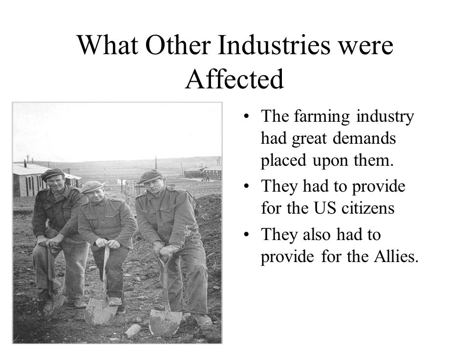 What Other Industries were Affected The farming industry had great demands placed upon them. They had to provide for the US citizens They also had to