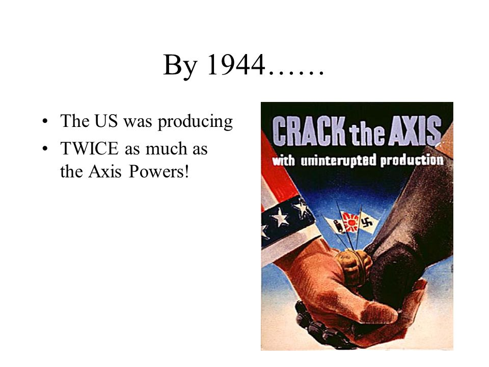 By 1944…… The US was producing TWICE as much as the Axis Powers!