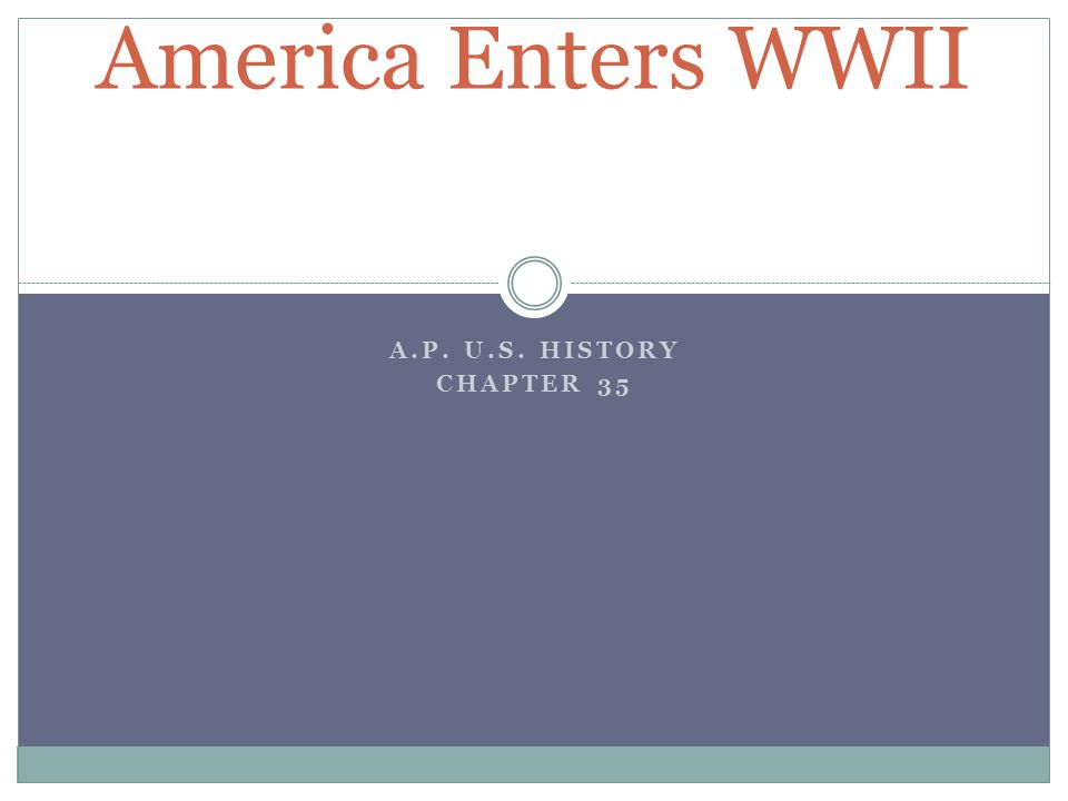 A.P. U.S. HISTORY CHAPTER 35 America Enters WWII