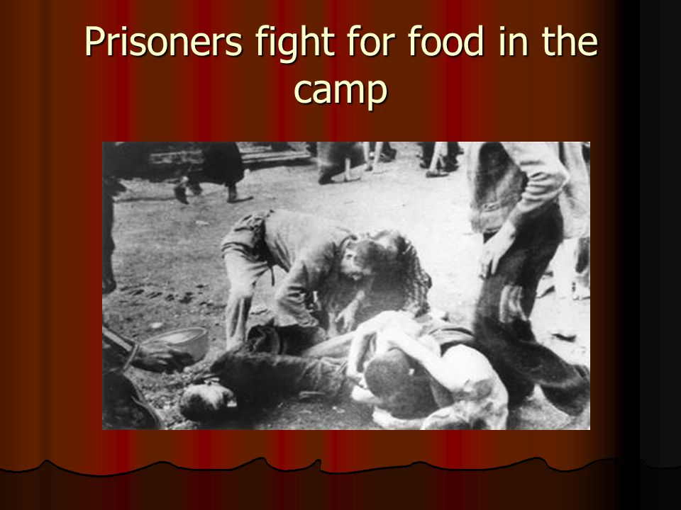 Prisoners fight for food in the camp