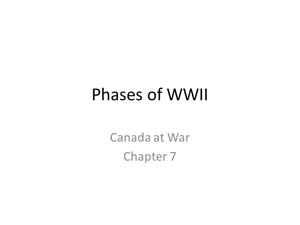 Phases of WWII Canada at War Chapter 7