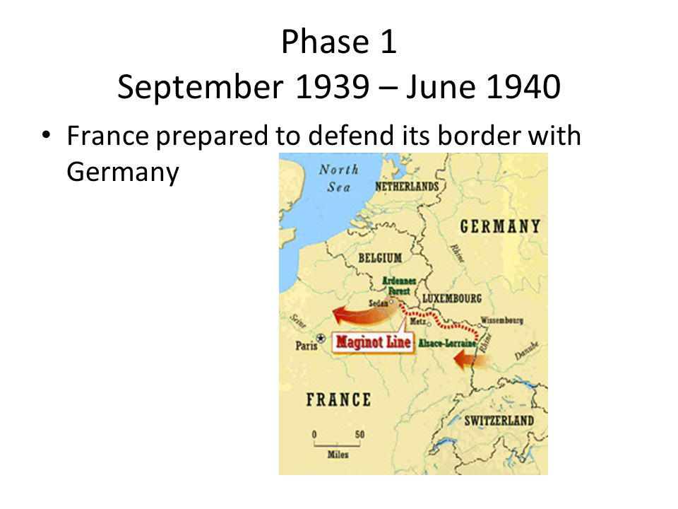Phase 1 September 1939 – June 1940 France prepared to defend its border with Germany