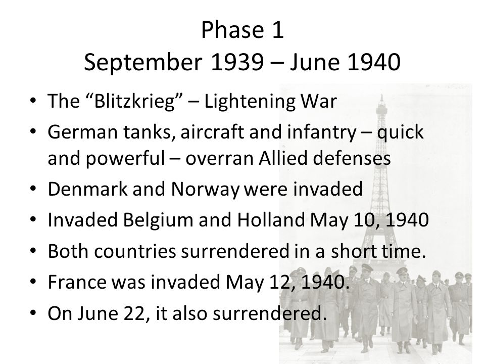 Phase 1 September 1939 – June 1940 The Blitzkrieg – Lightening War German tanks, aircraft and infantry – quick and powerful – overran Allied defenses Denmark and Norway were invaded Invaded Belgium and Holland May 10, 1940 Both countries surrendered in a short time.