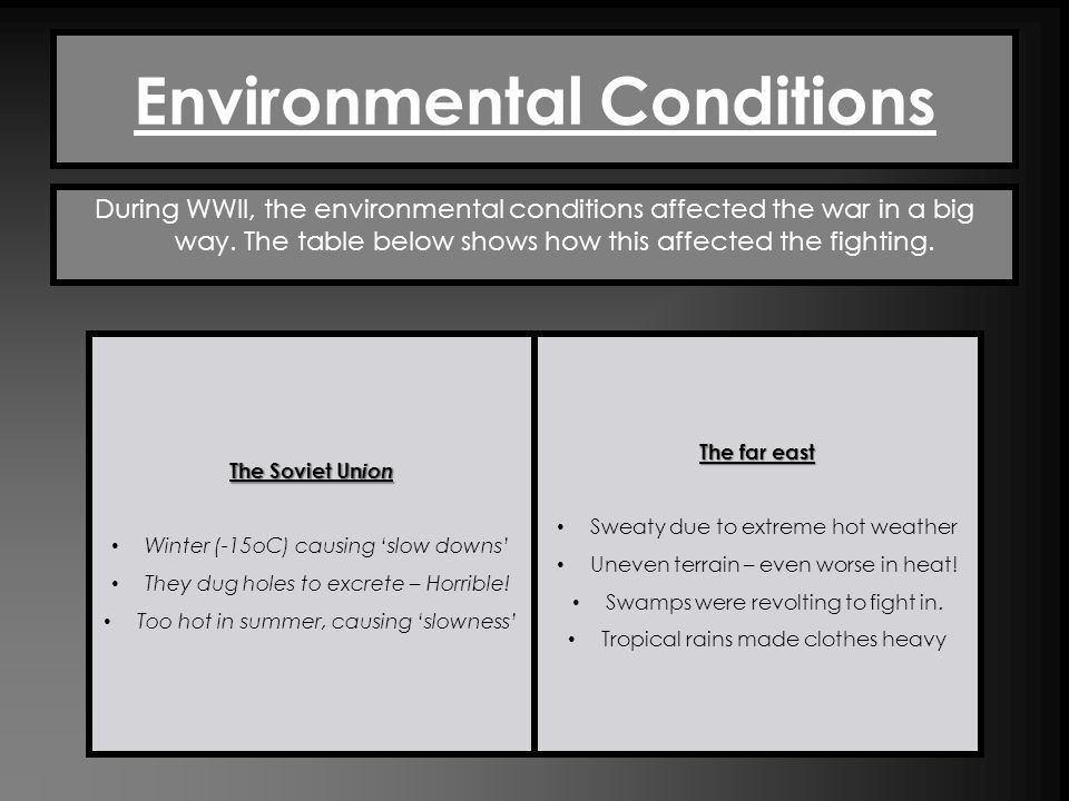 Environmental Conditions During WWII, the environmental conditions affected the war in a big way. The table below shows how this affected the fighting