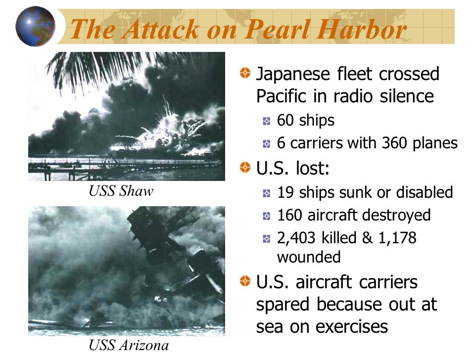 The Attack on Pearl Harbor Japanese fleet crossed Pacific in radio silence 60 ships 6 carriers with 360 planes U.S.