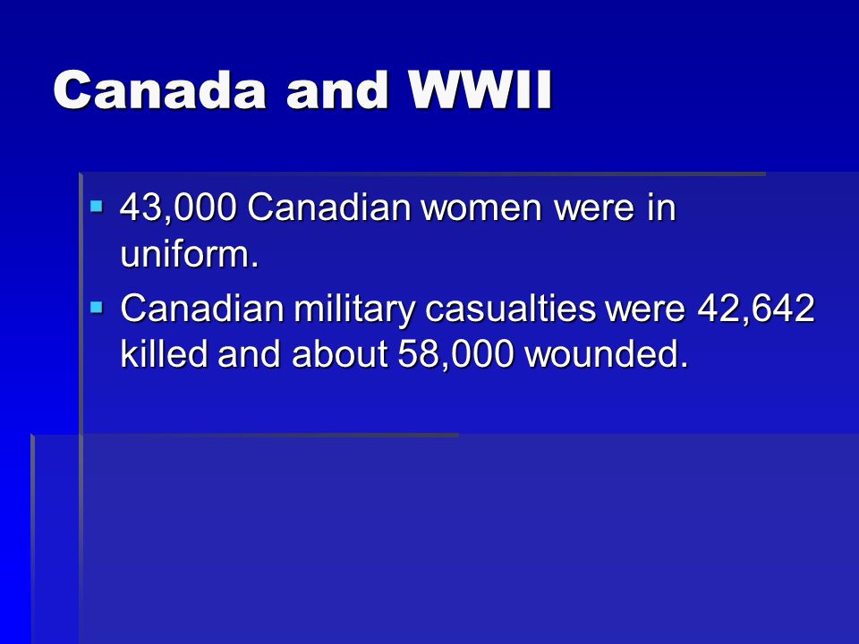 Canada and WWII  43,000 Canadian women were in uniform.