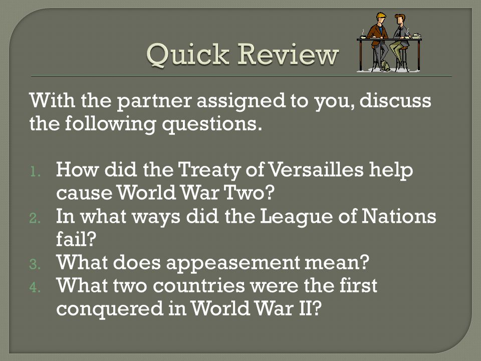 With the partner assigned to you, discuss the following questions.
