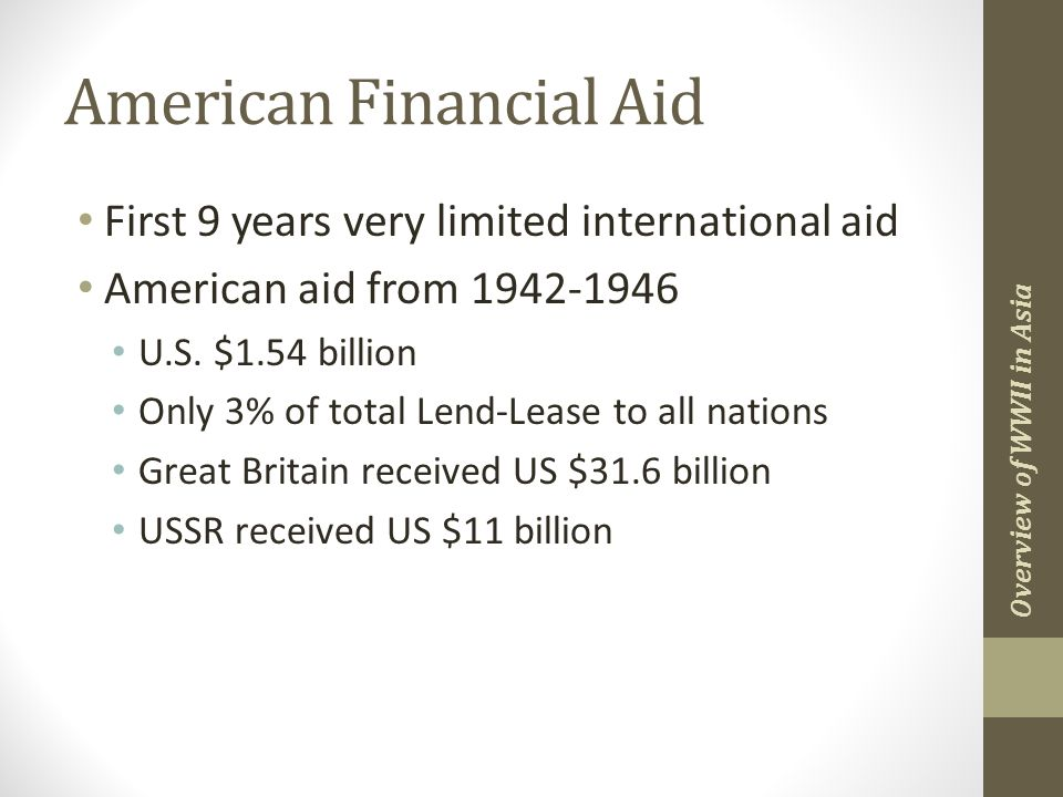 American Financial Aid First 9 years very limited international aid American aid from 1942-1946 U.S.