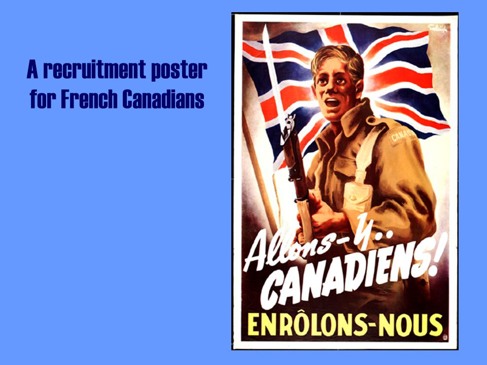A recruitment poster for French Canadians
