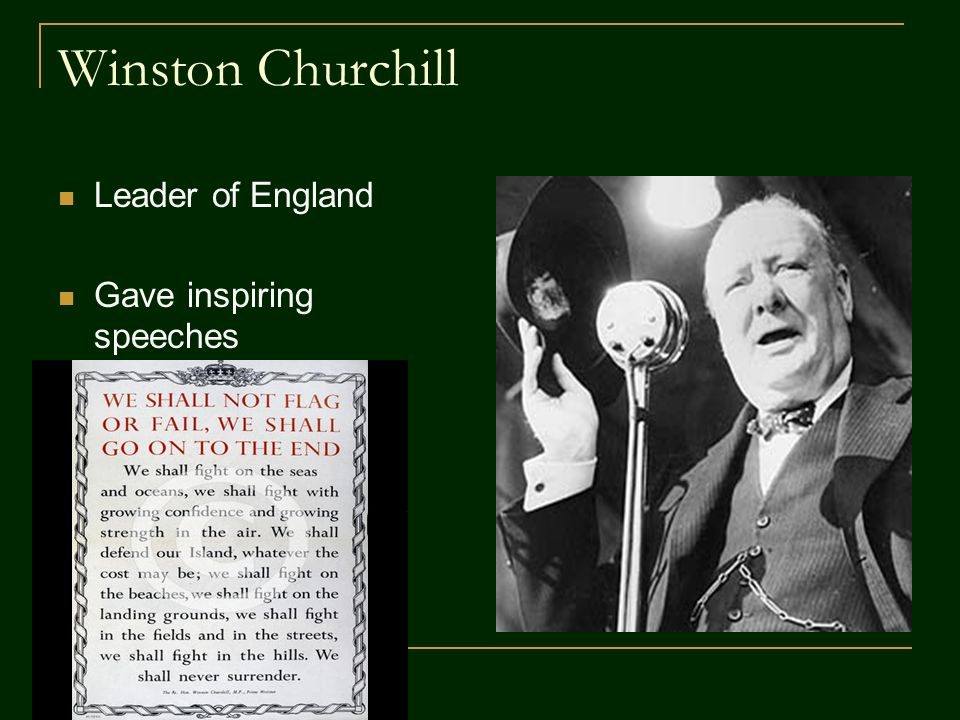 Winston Churchill Leader of England Gave inspiring speeches