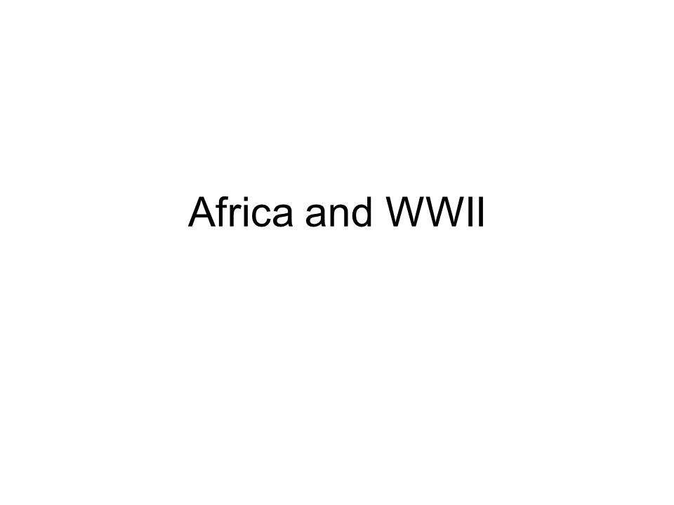 Africa and WWII