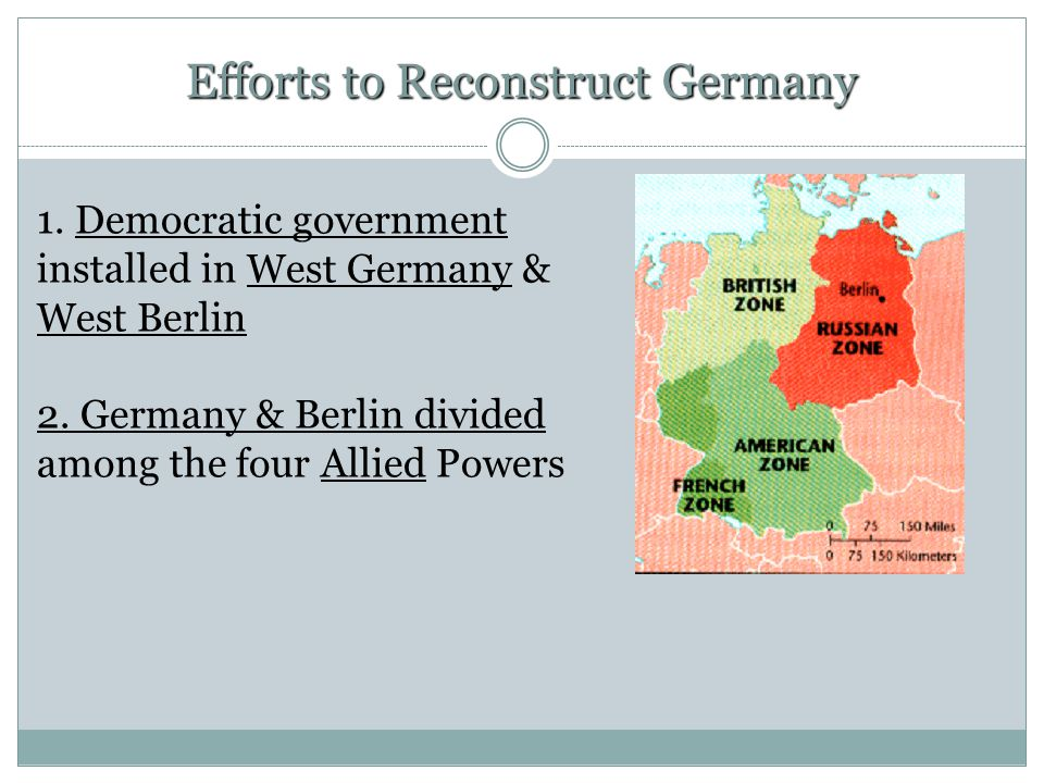 1. Democratic government installed in West Germany & West Berlin 2.