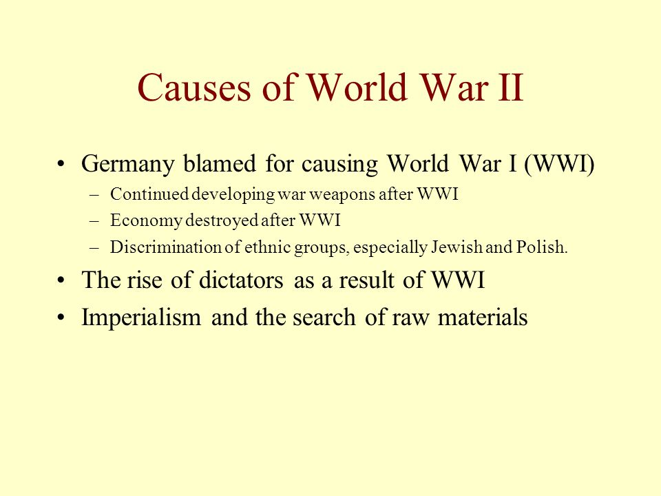 Causes of World War II Germany blamed for causing World War I (WWI) –Continued developing war weapons after WWI –Economy destroyed after WWI –Discrimination of ethnic groups, especially Jewish and Polish.