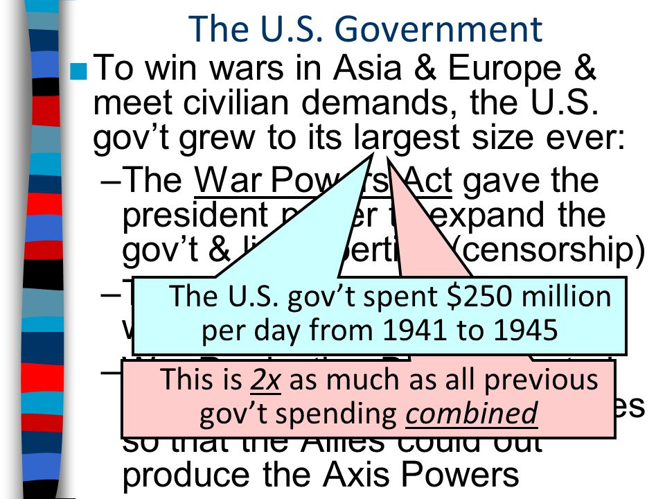 The U.S. Government ■To win wars in Asia & Europe & meet civilian demands, the U.S.
