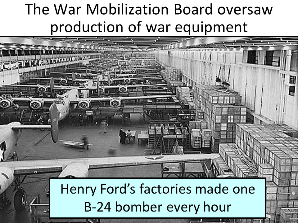The War Mobilization Board oversaw production of war equipment Henry Ford's factories made one B-24 bomber every hour