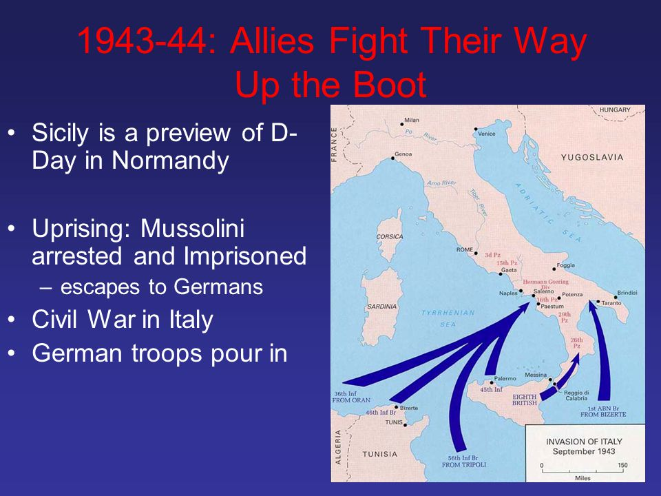 1943-44: Allies Fight Their Way Up the Boot Sicily is a preview of D- Day in Normandy Uprising: Mussolini arrested and Imprisoned –escapes to Germans Civil War in Italy German troops pour in