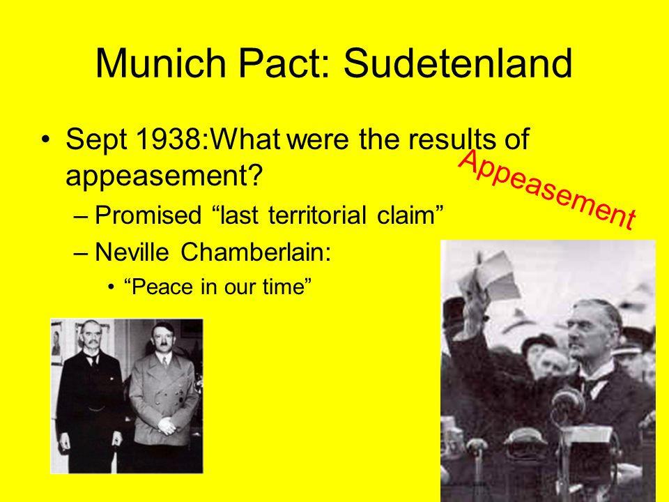 Munich Pact: Sudetenland Sept 1938:What were the results of appeasement.
