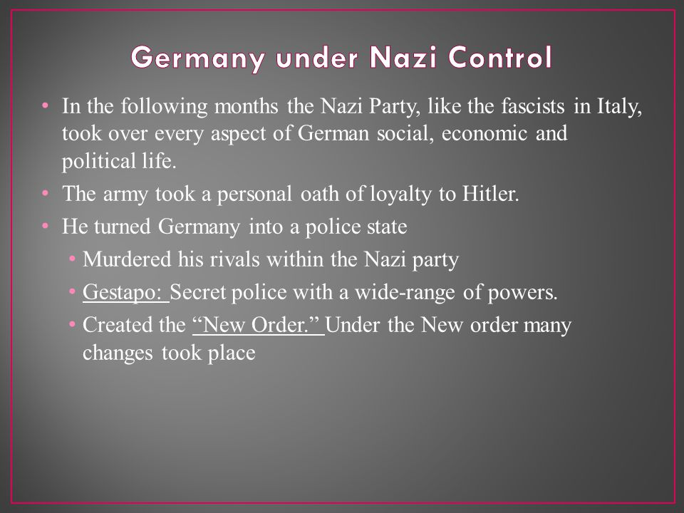 In the following months the Nazi Party, like the fascists in Italy, took over every aspect of German social, economic and political life.