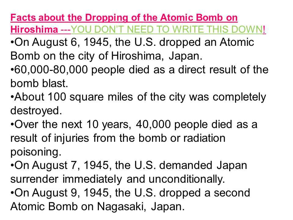 Nagasaki & Hiroshima Bombings in Japan