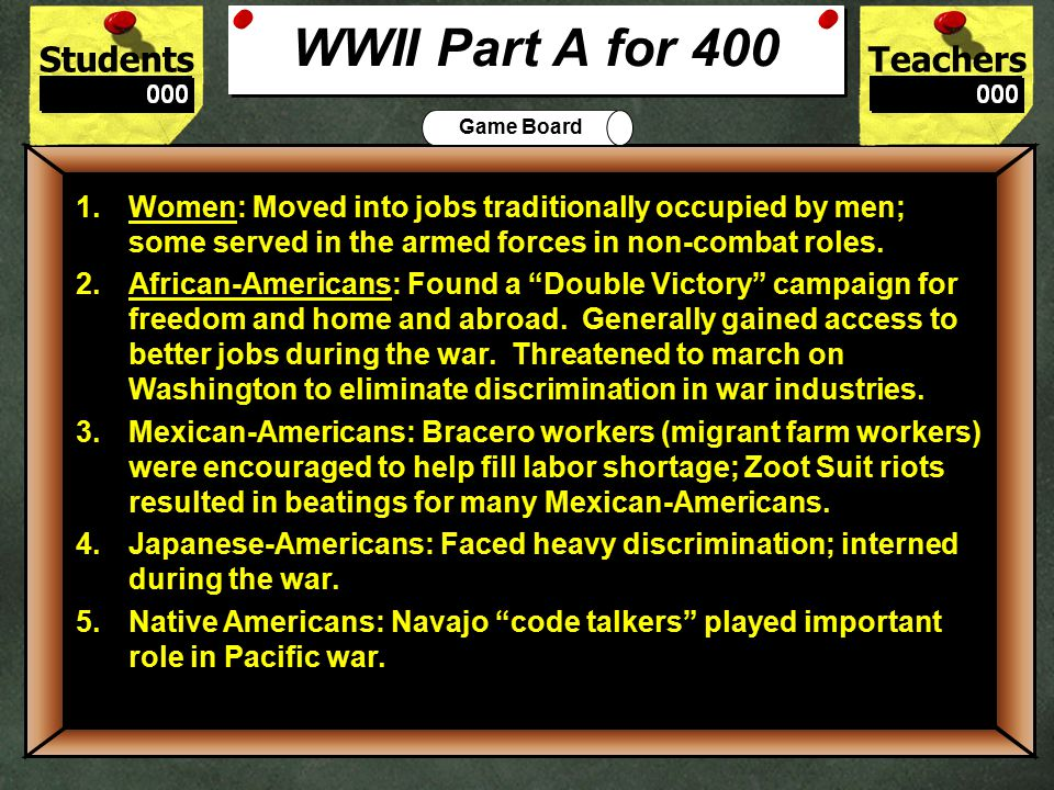 StudentsTeachers Game Board Summarize the effects that World War II had on two social groups.