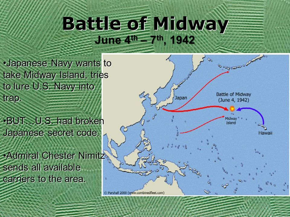 Battle of Midway June 4 th – 7 th, 1942 Japanese Navy wants to take Midway Island, tries to lure U.S.