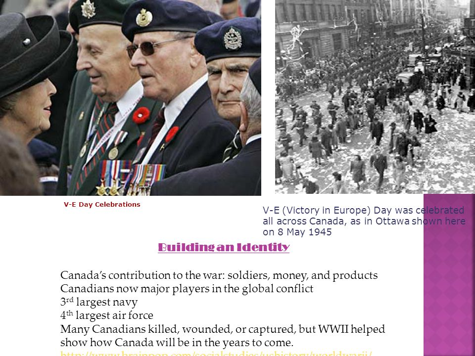Building an Identity Canada's contribution to the war: soldiers, money, and products Canadians now major players in the global conflict 3 rd largest navy 4 th largest air force Many Canadians killed, wounded, or captured, but WWII helped show how Canada will be in the years to come.