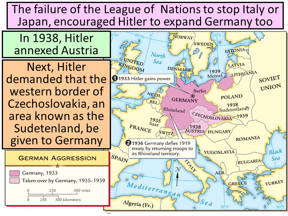 In 1938, Hitler annexed Austria The failure of the League of Nations to stop Italy or Japan, encouraged Hitler to expand Germany too Next, Hitler dema