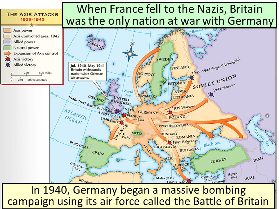 When France fell to the Nazis, Britain was the only nation at war with Germany In 1940, Germany began a massive bombing campaign using its air force c
