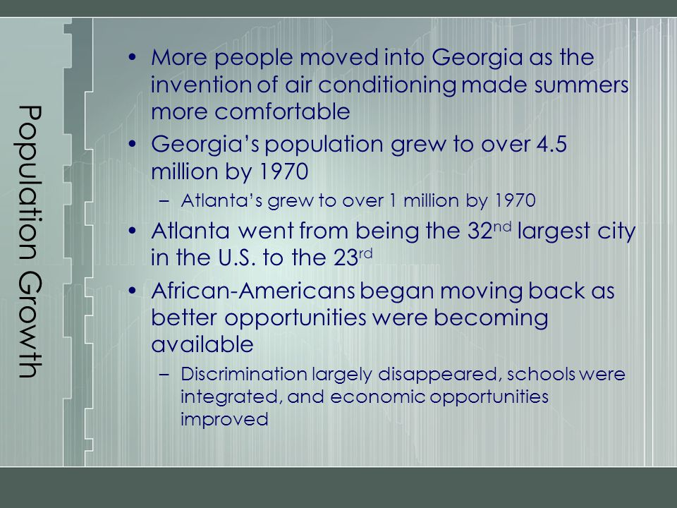 Population Growth More people moved into Georgia as the invention of air conditioning made summers more comfortable Georgia's population grew to over
