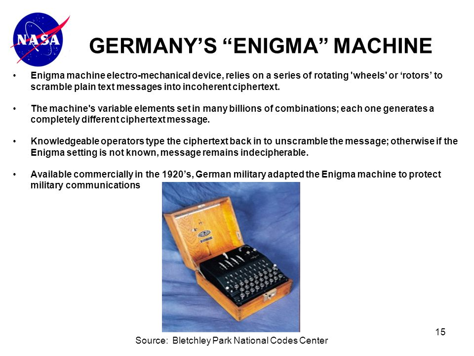 15 Enigma machine electro-mechanical device, relies on a series of rotating wheels or 'rotors' to scramble plain text messages into incoherent ciphertext.