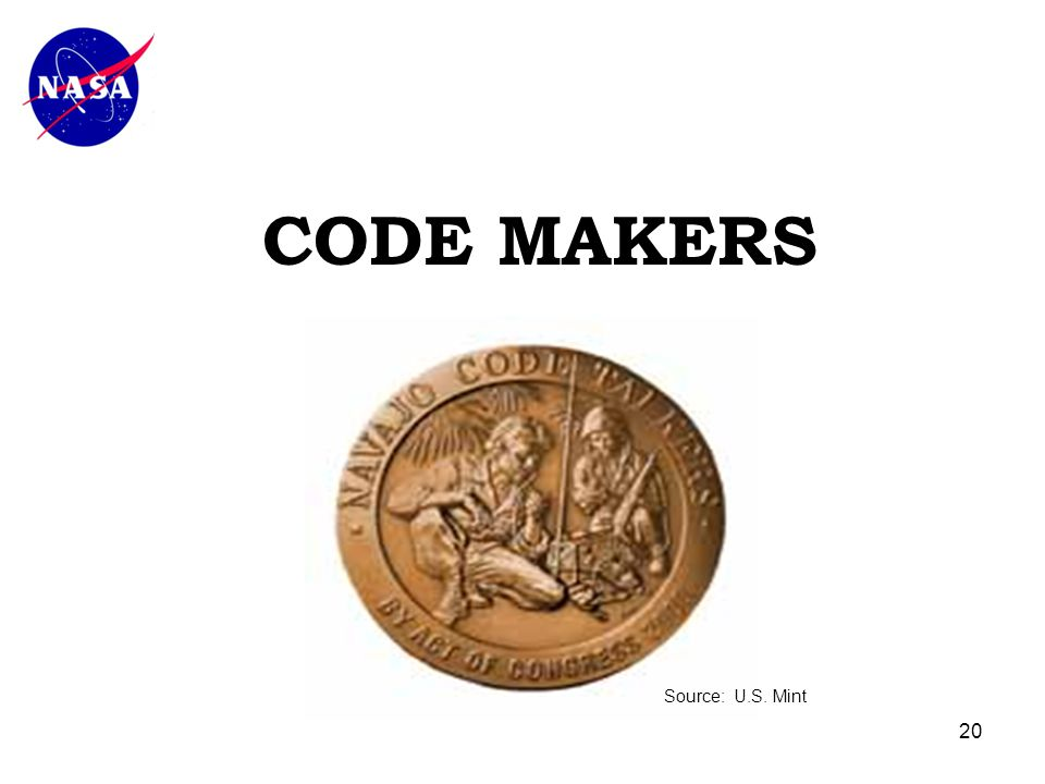 20 CODE MAKERS Source: U.S. Mint